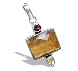 Design 11451: brown,red,yellow tiger eye pendants