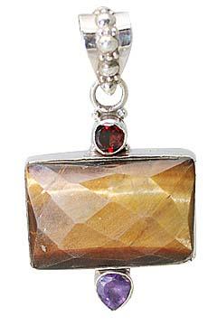 Design 11452: brown,purple,red tiger eye pendants