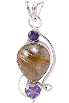 Design 11453: brown,purple rutilated quartz pendants