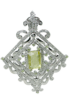 Design 11525: White, Green lemon quartz pendants