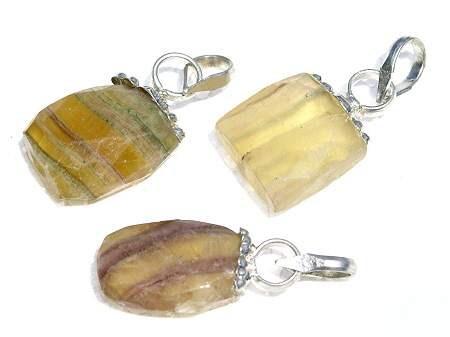 Design 11527: purple,yellow,multi-color fluorite drop pendants