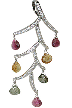 Design 11538: White, Pink, Green, Yellow citrine pendants