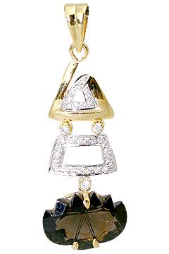 Design 11541: White, Brown smoky quartz pendants