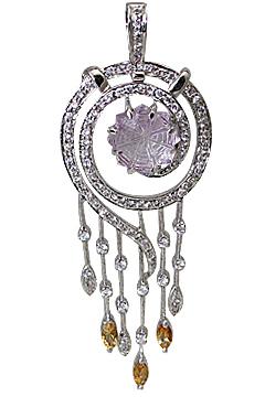 Design 11553: Purple, White, Yellow amethyst pendants