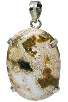 Design 11606: White, Brown jasper pendants