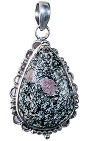 Design 12036: black,gray,pink zosite american-southwest pendants