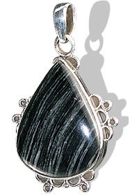 Design 12042: black,gray jasper american-southwest, ethnic pendants