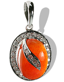 Design 12054: orange,white carnelian engagement pendants