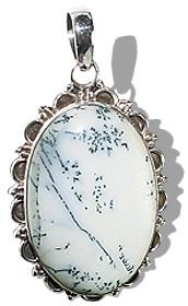 Design 12070: white dendrite opal american-southwest pendants