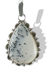 Design 12073: gray,white dendrite opal american-southwest pendants