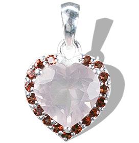 Design 12160: pink,red,multi-color rose quartz heart pendants