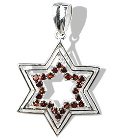 Design 12233: red,white garnet star pendants