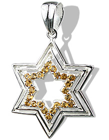 Design 12234: white,yellow citrine star pendants