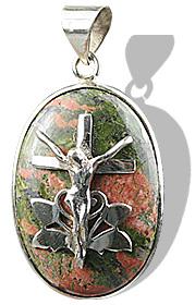Design 12247: green unakite cross, religious pendants