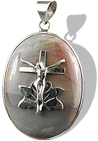 Design 12248: gray jasper cross, religious pendants
