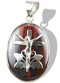 Design 12249: gray,red tiger eye cross, religious pendants