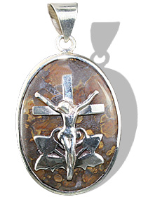 Design 12262: brown,gray opal cross, religious pendants
