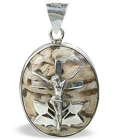 Design 12266: brown,white jasper cross, religious pendants