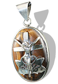 Design 12267: brown,yellow tiger eye cross, religious pendants