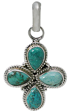 Design 12299: blue turquoise cross pendants