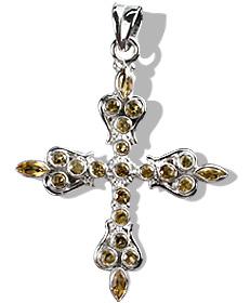 Design 12314: yellow citrine cross pendants
