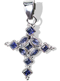 Design 12317: blue iolite cross pendants