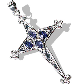 Design 12318: blue iolite cross pendants
