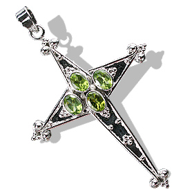 Design 12319: green peridot cross pendants