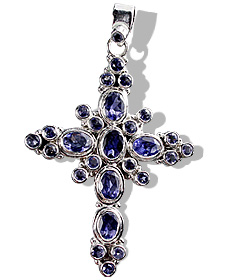 Design 12323: blue iolite cross pendants