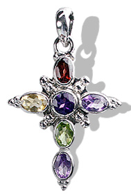 Design 12324: multi-color multi-stone cross pendants