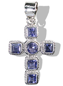 Design 12328: blue iolite cross pendants