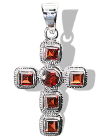 Design 12330: red garnet cross pendants