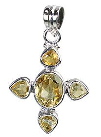 Design 12331: yellow citrine cross pendants