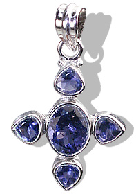 Design 12335: blue iolite cross pendants