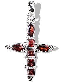 Design 12338: red garnet cross pendants