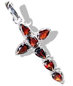 Design 12341: red garnet cross pendants