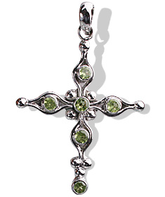 Design 12347: green peridot cross pendants