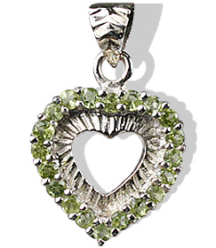 Design 12401: green peridot heart pendants