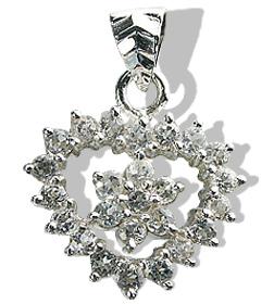 Design 12409: white white topaz heart pendants