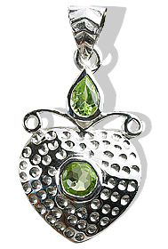 Design 12411: green peridot heart pendants