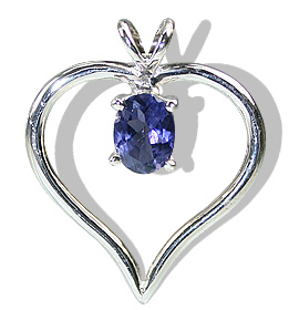 Design 12420: blue iolite heart pendants
