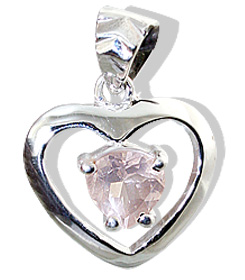 Design 12424: pink rose quartz heart pendants