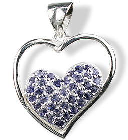 Design 12538: blue iolite heart pendants