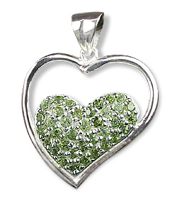 Design 12539: green peridot heart pendants