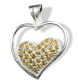 Design 12540: yellow citrine heart pendants