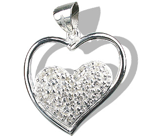 Design 12541: white white topaz heart pendants