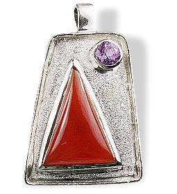 Design 12543: orange,purple carnelian american-southwest pendants