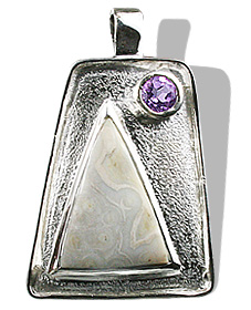 Design 12544: gray,purple agate american-southwest pendants
