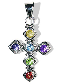 Design 12588: multi-color multi-stone cross pendants