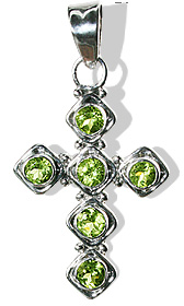 Design 12589: green peridot cross pendants